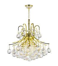 "6-Light Gold Finish 16"" x 15"" Empire Clear Crystal Chandelier Pendant Light"