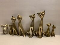 Vintage Brass Set Of 8 Cats Siamese Figurines Tall Neck Art Deco Mid Century
