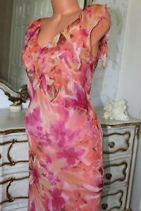 (Ref 100(4)  MICHAELA LOUISA 100% Silk Ladies Pink Mix Bias Cut Dress Size 12