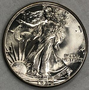 1942 P Silver Walking Liberty Half Dollar 50c ~ BU Frosty White Lustrous Gem