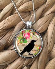 Bird Crow Flower Raven Gardener Gift Glass Pendant Silver Chain Necklace NEW