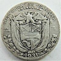 1931 PANAMA, silver 1/4 Balboa, grading FINE / Good FINE. KEY DATE, 48K minted