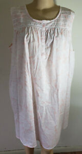 NWT Women's Sleeveless Nightgown Croft & Barrow 100% Woven Cotton Pink Floral