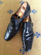 FRATELLI ROSSETTI MEN'S SHOES BLACK LEATHER MONK BUCKLE LOAFERS UK 10 US 11 44