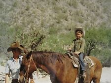 VINTAGE YOUNG COWBOY HORSE HAT BOOTS SADDLE UP ARTISTIC KODAK COLOR OLD PHOTO
