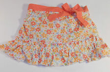 Orange Floral Skirt Belt and Pockets - 6 to 9 Months Baby Girls Miniwear