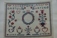 GROSSES STICKMUSTERTUCH 1968 DÄNISCHES MUSTER NORWEGISCHES GARN 54 x 43 cm