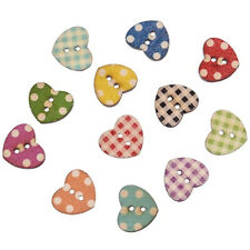 Hot 50PCs Wooden Mixed Heart Pattern Decorative Buttons 2 Holes Sewing Craft