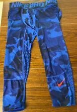 Nike Pro Combat men's 3/4 compression tights. Exc. Con. Blue CAMO SZ M