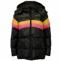 Ladies Patent Shine Puffer Jacket Brave Soul Womens Coat Hooded Padded DOROTA