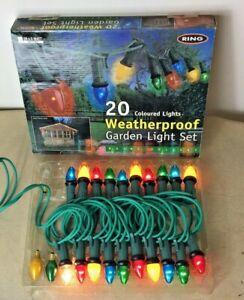 20 x Coloured Outside Waterproof Garden Light Set - Christmas Lights Year Round