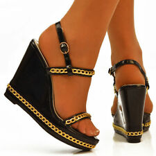 Wedge Patent Leather Wet look, Shiny Heels for Women