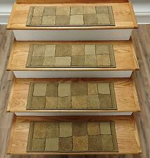 "Rug Depot 13 Contemporary Carpet Stair Treads 26"" x 9"" Staircase Rugs Beige Poly"