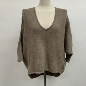 Moth Women's Pull Over Sweater Small Brown Made in Peru 100% Baby Alpaca