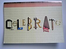 "PAPER MAGIC ~ HANDYMAN'S TOOLS ""CELEBRATE"" BIRTHDAY GREETING CARD + ENVELOPE"
