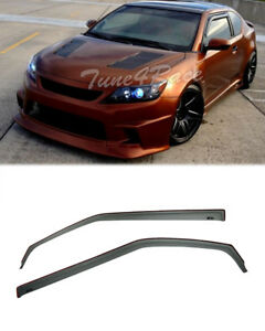 For 11-16 Scion TC Side Window Visors Gen 2 In-Channel Smoke Tint Rain Guard JDM
