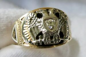 Men's MASONIC SCOTTISH RITE 32 Degree Double Eagle DIAMOND 10KT Gold Ring