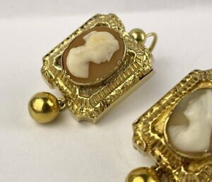 Biedermeier Ohrhänger mit Gemme 585 / 14 Kt Gold Ohrringe