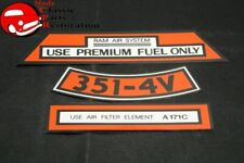71 Ford Boss 351 Ram Air Aftermarket Air Cleaner Decal Set 3 Pieces Fits Mustang