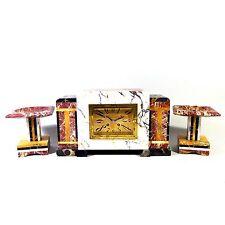 ART Deco Kaminuhr stupendo orologio da tavolo buffetuhr marmo con beisteller pendule odo clock 6