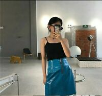 electric blue PU leather mini skirt front zipper a-line skirt *select a size*