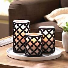 Set Candle Candles Flameless Led Wax Timer Ivory Battery Operated Flickering