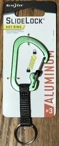 Nite Ize SlideLock Lime Classic Key Ring Aluminum Nylon Strap CSLAW3-03-R6 *NEW*