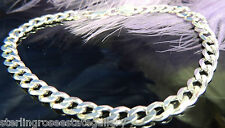 Barbada Plata de Ley 0.925 Antiguo 18.4cm X 0.6cm Pulsera con Langosta Cierre