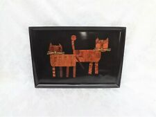 Couroc Pair of Cats - Serving Tray, Inlaid Wood - Hand Crafted