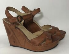 Frye Womens 10 Corrina Campus Leather Wedge Sandals Buckle Strap Size 10
