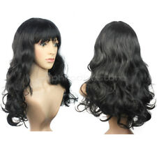 New Women's Fashion Black Long Curly Hair Full Wig Party Cosplay Fancy Dress