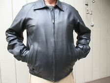 Bruno Magli Black Genuine Lambskin Leather Jacket Men's Size 40 Made in Italy