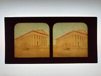 Tissue Stereoview Card La Madeleine Church Paris France c.1880s-90s