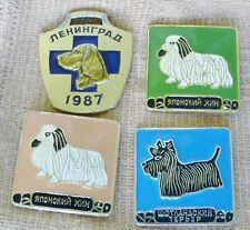 4 Russian Ussr 1987 dog pins Labrador retriever Scottish Terrier Japanese Chin