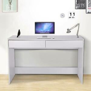 All White Computer Desk Desktop Laptop PC Table Workstation 2 Drawer Home Office