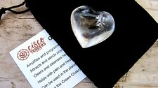 Clear Quartz Healing Crystal Heart 35mm with Black Velour Drawstring Pouch