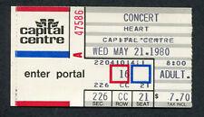 1980 Heart Concert Ticket Stub Capital Centre Landover MD Bebe Le Strange Tour