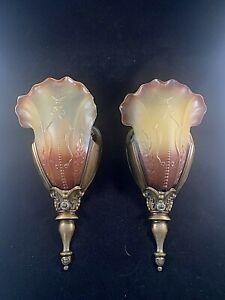 Vintage Pair Of Solid Bronze Art Deco sconces, glass slip shades