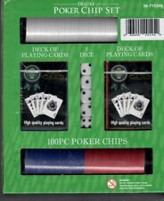 CASINO 777 DELUXE POKER CHIP SET - w/ 5 Dice Chips and 2 Decks Playing Cards