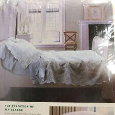 Martha Stewart Twin Size Cotton Matelasse Coverlet Quilt Floral Rose Clove Green