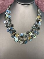 """Bohemian Blue Green Natural Beaded Mother Of Pearl   Multi 5 Strand necklace 16"""""""