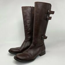 Born Riding Boots Attila Tall Size Women's 8.5 M Brown Leather Side Zip Buckles