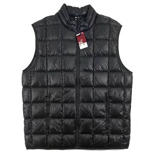 New Decathlon Quechua Packable Ultralight Grey Duck Down Vest Black Mens XL
