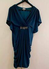 Kaliko-elegante Escote en V para mujer turquesa con cuentas cóctel Vestido Talla 12
