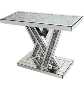 NEW Glass Diamond Crush Crystal Console table/home decor