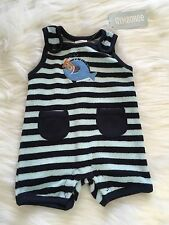 NWT Gymboree Swim School Striped Terry Romper Outfit Size 5-9Lbs