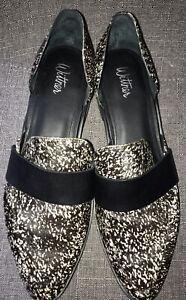 WITTNER 'Kenza' Leather Side Cutout  Flats in Splatter Pony Size 39 8