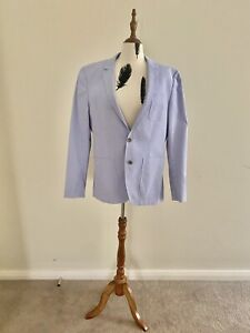 Peter Jackson Cotton Collegiate Blue And White Stripe Suit Jacket Size 100
