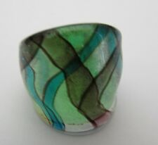 Style Glass Ring. Uk-P/Q.Us-7.75 (148!) A Silver/Blue/Purple Over Green Murano