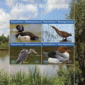 Madagascar Water Birds on Stamps 2021 CTO Ducks Herons Bitterns 4v M/S II